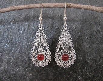 Earrings,Silver earrings,Filigree earrings,Carnelian earrings,Israel jewelry,Ethnic earrings,carnelian silver earrings