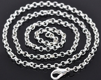 """1 Silver Cable Link Chain, 20"""" Chain, Silver Necklace"""
