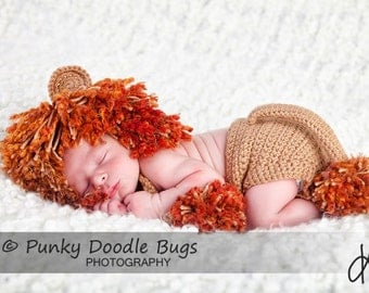Newborn Lion Prop Hat with Diaper Cover