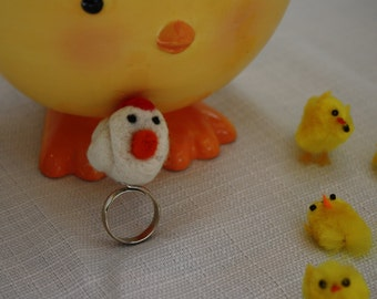 Needle Felted Chicken Ring