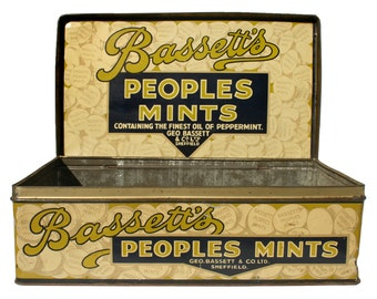 1930s Bassett's Peoples Mints shop counter-top display tin