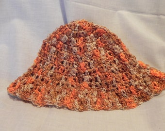 Women's Crochet Orange Varigated Hat