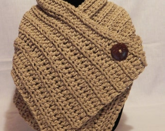 Chunky Tan Tweed Ribbed Cowl Neckwarmer