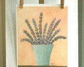Lavender Bouquet in Aqua Vase - Fine Art PRINT of Acrylic Painting, Cottage Chic Farmhouse Decor