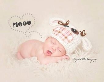 Cow hat - newborn photography prop - animal hat - crochet hat - baby hat - spring