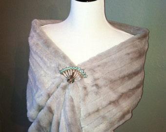 Silvery Gray Faux Fur Infinity Scarf or Faux Fur Wrap