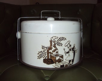 4 piece 1950's metal cake/ pie carrier combo
