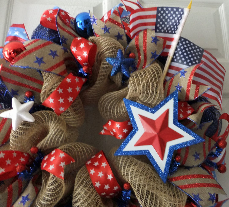 Patriotic Wreath RWB Wreath Memorial Day Deco Mesh Wreath