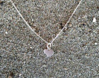 Matte Silver, Heart Necklace, Tiny Heart Pendant