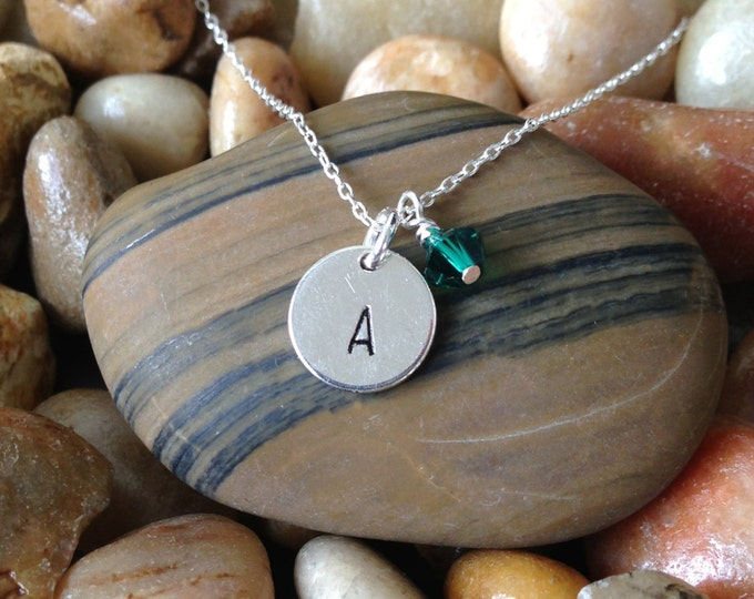 Tiny Sterling Silver Monogram Necklace, Initial Necklace, Sterling Silver Round Charm, Birthstone