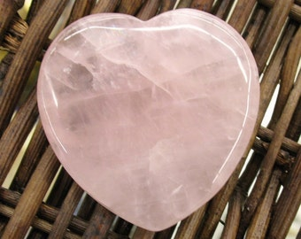 Rose Quartz Flat Heart, 45 mm - Item 50765