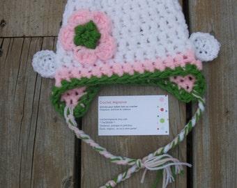 Crochet Baby Monkey Flower Earflap Hat, 0-3 mois
