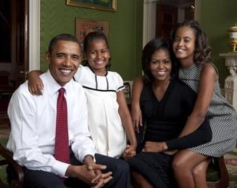 Modern  President Barack Obama Official Family Portrait, Michelle Obama, Sasha, Malia Photo Print