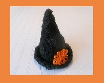 Adorable and Soft - Hand-Knit Baby Witch Hat with Bright Orange Flower