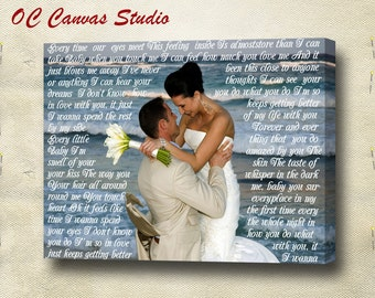 Personalized Wedding Photo  Canvas Print with First Dance Lyrics, Vows, Poem, Quotes. Personal/Unique Wall Decor.