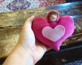 Reserved for Danielle Waldorf Style Wool Valentines Day Heart Pocket Doll