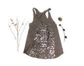 WILDFLOWERS RIBCAGE Hand Printed Tank Top, racer back tank, Original wildflowers artwork in dark silver foil