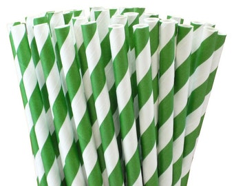 25 Dark Green Striped Paper Straws-7.75 Inches-Party Straws-Shower-Wedding-Party-Biodegradable