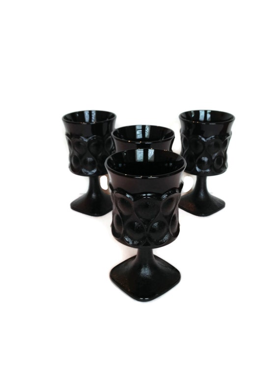 Iced Tea Glasses Vintage Noritake Black Glassware Ebony
