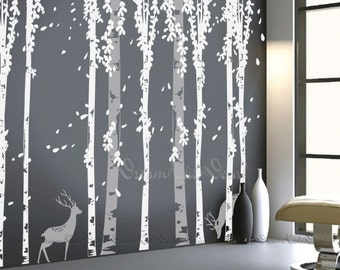 tree decal wall decals, nature wall decals, vinyl wall decal, nature wall decal, birch tree with deer, nursery wall stickers-DK120