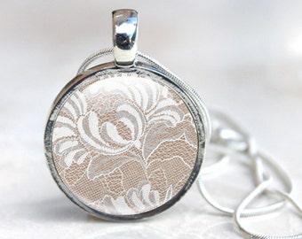Lace Jewellery-  Lace necklace, Lace pendant, photo jewellery, photo pendant, picture pendant, white cream, floral lace pattern