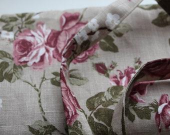 """Linen Tote Bag """"Vintage Rose"""""""