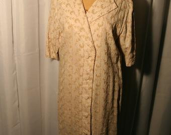 Embroidered 80's linen shirt dress