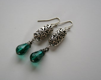 Rectangular Antiqued Silver Earrings with green tear drop pendent