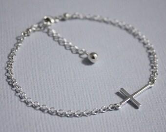Sideways Cross Bracelet, Sterling Silver Sideways Cross Bracelet