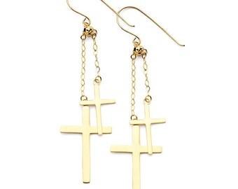 14K Yellow Gold Double Cross Fish Hook Earrings, Double Cross Earrings, Cross Earrings, Cross, Religious, Religion, Gold Cross Earrings
