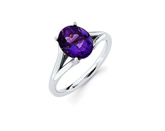 14K White Gold Oval Amethyst Ring, White Gold Ring, Amethyst Ring, Promise Ring, Fancy Ring, Fashion, Oval Amethyst