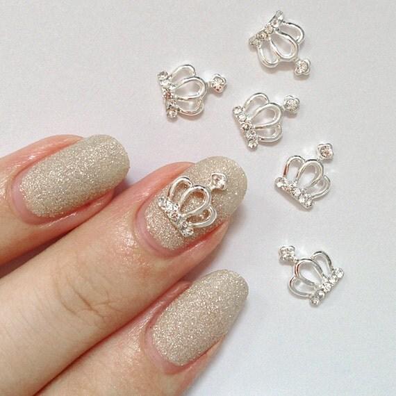 2 Pcs Silver Crown Crystal Diamonds Metallic 3d Nail Art Charm