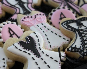 Lingerie Cookies, Bridal Shower Cookie Favors, Wedding Shower Cookies, Valentine's Day Cookies, Girls Night Out Cookies