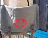 Sage Vintage Military Canvas Medic Messenger Bag, Cross Body, Unisex Bag, Shoulder Bag, Military Bag, Tech Bag, Medic Bag, Red Cross Bag