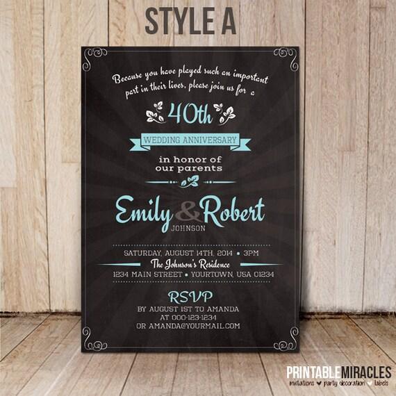 30th Wedding Anniversary Invitations: Items Similar To Chalkboard Wedding Anniversary