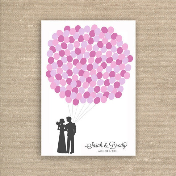 Wedding Guest Book Alternative - Wedding Guestbook for 150 Guests - Balloon Guest Book Poster in Pink and Purple