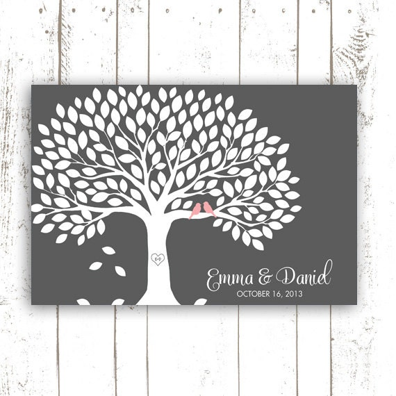 Guest Book Tree - Guest Book Alternative for 150 Guest Signatures - Pink and Grey Wedding Guestbook