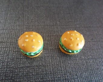 Deliciously Cute Magnetic Hamburger Earrngs!