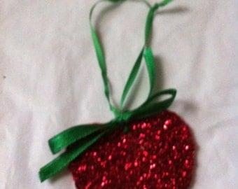 Red  Heart Shaped Wooden Ornament