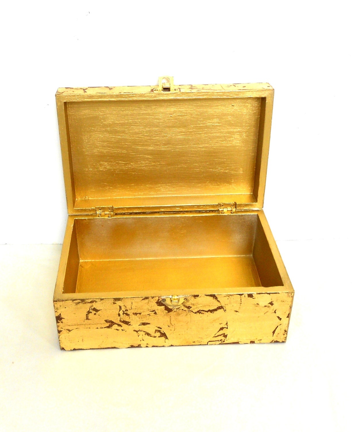 How To Make A Decorative Wooden Box: Gold Leaf Wooden Box Vintage Finishing Box Decorative Box