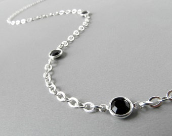 Silver Eyeglass Lanyard - Black Swarovski Crystals - Eyeglass Necklace - Eyeglass Chain for Women - Reading Glasses Leash - Eyeglasss Leash