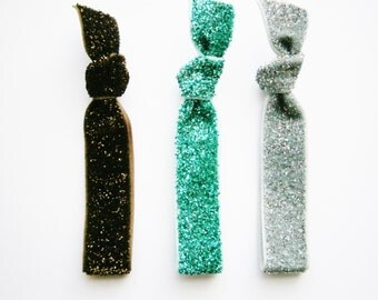 Set of 3 Glitter Hair Tie Package by Crimson Rose Cottage - Brown, Turquoise and Silver Glitter Hair Ties that Double as Bracelets