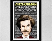 Anchorman Poster // Will Ferrell -- Ron Burgundy // Christmas Gift // Quotes