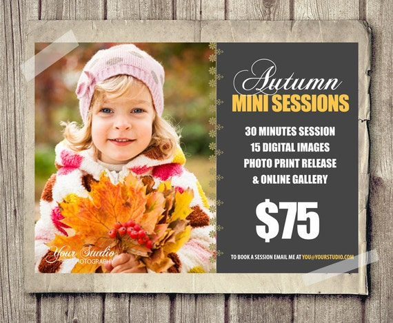Fall photography marketing board 5x7 mini sessions psd for Free mini session templates for photography