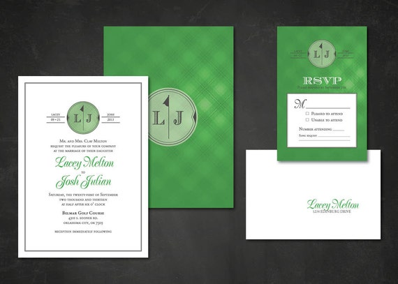 Formal Golf Wedding Invitations & RSVP Postcards Green