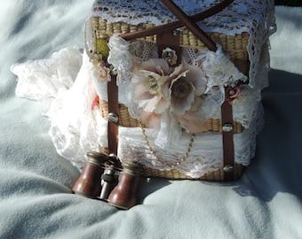 Upcycled Purse 'Mona' Gypsy Hobo Hippy Bird Watching Basket