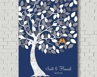 Guest Book Alternative -  Wedding Tree - Guest Book Print - Wedding Poster - Wedding Bridal Showers - Guest Book Print - Navy Wedding Decor