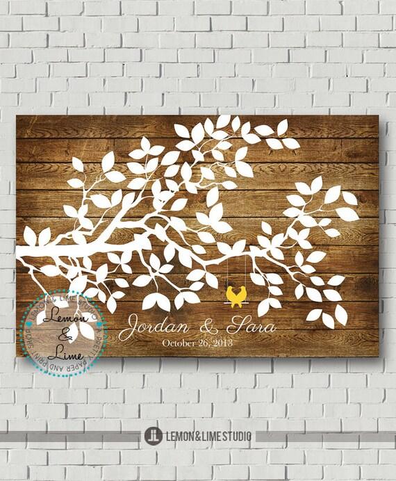 Wedding Guest Signing Tree: Wedding Guest Book Tree Print Alternative By MarshmallowInkLLC