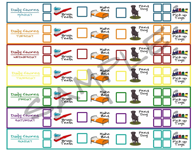Items similar to Printable Toddler Chore Chart -- Brush Teeth, Make ...