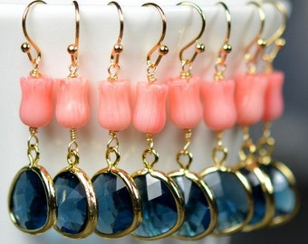 Navy Coral -Bridesmaid jewelry sapphire blue Gold Drop Earrings Wedding Bridal Wedding Dangle Earrings Bridal Jewelry  Bridesmaid Gift